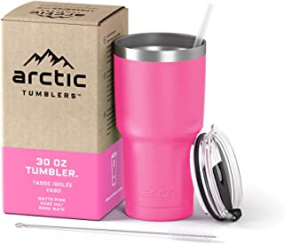 Arctic Tumblers Stainless Steel Camping & Travel Tumbler with Splash Proof Lid and Straw, Double Wall Vacuum Insulated, Premium Insulated Thermos - (Matte Pink Powder Coat, 30 oz)