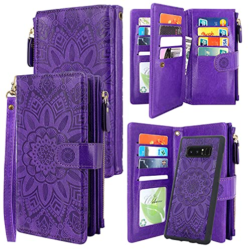 Harryshell Detachable Magnetic Zipper Wallet Leather Case Cash Pocket with 12 Card Slots Holder Wrist Strap for Samsung Galaxy Note 8 (2017) Floral Flower (Purple)
