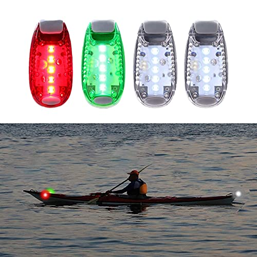 High Night Visibility Safety Navigation Light (4 Pack), with 3 Flashing Modes and Back Clip, for Boat Bow, Mast, Paddles, Pontoon, Yacht, Motor, Bike Tail, Runner, Bicycle, Dog Collar, Stroller