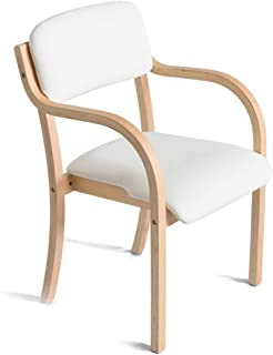 High Back Chair Wooden Armchair -with Backres Cushion for Home and Commercial Office Tableware White Make-up Work and Stud...
