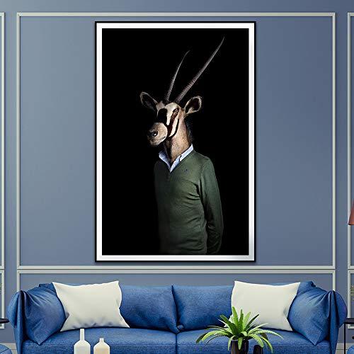 Rahmenlose Malerei Retro-Stil Wohnkultur Tier Poster Druck Nordic Porträt Leinwand Wandkunst DekorationZGQ2788 60X80cm
