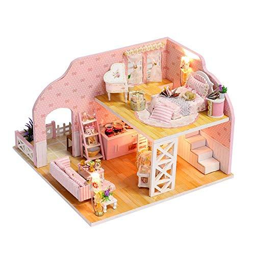 HUATAN DIY casa del Juguete Mini casa de muñecas de Madera con Muebles de Bricolaje casa Juguetes artesanales en Miniatura Casas (Color : Multi-Colored, Size : 20.5 * 21 * 14cm)