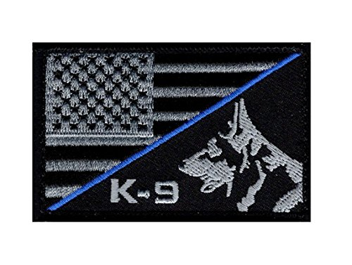 K-9 USA American Flag Thin Blue Line Police Swat Hook Fastener Patch (PK-1B)