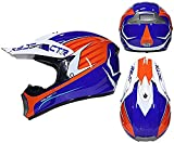 XIAOTIAN Cara Fuera de la Carretera Motocross Quad Crash Casco Casco Downhill Bike Adult Motorbike Helmet Guantes, Gafas, Máscara 4 Pieza Set (Color : Blue, Size : M)