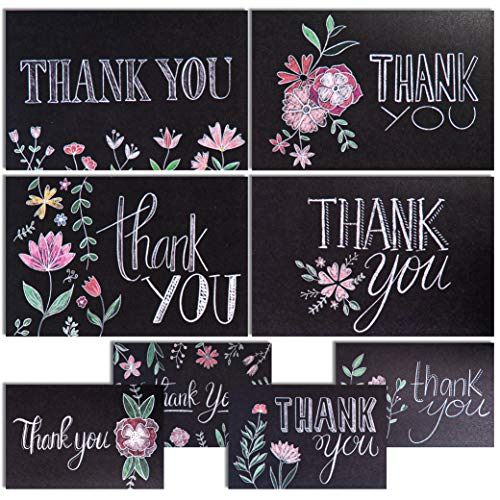 Chalkboard Floral Thank You Cards, Designer Thank You Notes! Bulk Set of 48 Blank Cards with Envelopes. Baby Shower Thank You Cards Wedding, Bridal Shower Thank You Card or Teacher Card