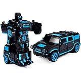 Wangch RCトラック1/18 RCカーズ2 1の無線ジェスチャーを感知するワンボタンリモコンロボットレーシングカーのおもちゃモデルパーソナリティ変形おもちゃ車ギフト(色:ブルー) (Color : 青)