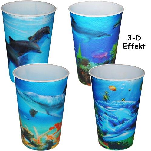 alles-meine.de GmbH 1 Stück _ 3-D Effekt _ 3 in 1 - Trinkbecher / Zahnputzbecher / Malbecher - Becher -  Unterwasser - Fische & Delfine  - 320 ml - mehrweg - Trinkglas aus Kuns..