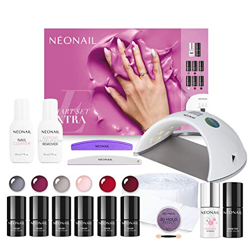NEONAIL Smart Set Extra con lámpara LED, 6 esmaltes de uñas UV de 3 ml, base superior y accesorios