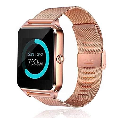HechoVinen Bluetooth reloj inteligente GSM SIM teléfono acero inoxidable banda fitness sueño frecuencia cardíaca contador calorías para ios Android Z60 pulsera inteligente