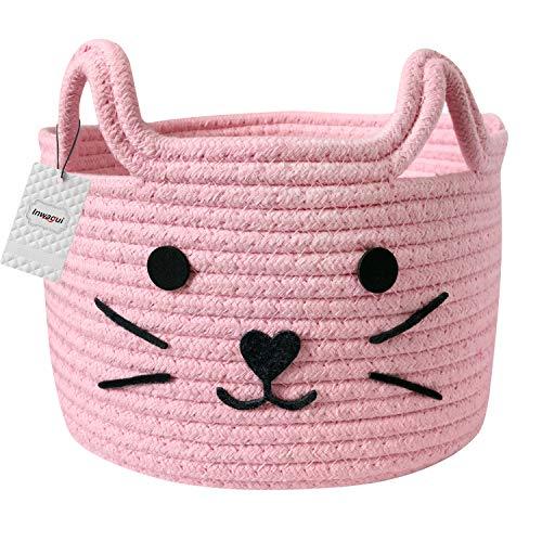 Inwagui Baumwolle Seil Aufbewahrungskorb Faltbar Kinderzimmer Aufbewahrungsbox Baby Spielzeug Organizer Windeltasche Katzenmuster Dekorativer Korb - Rosa