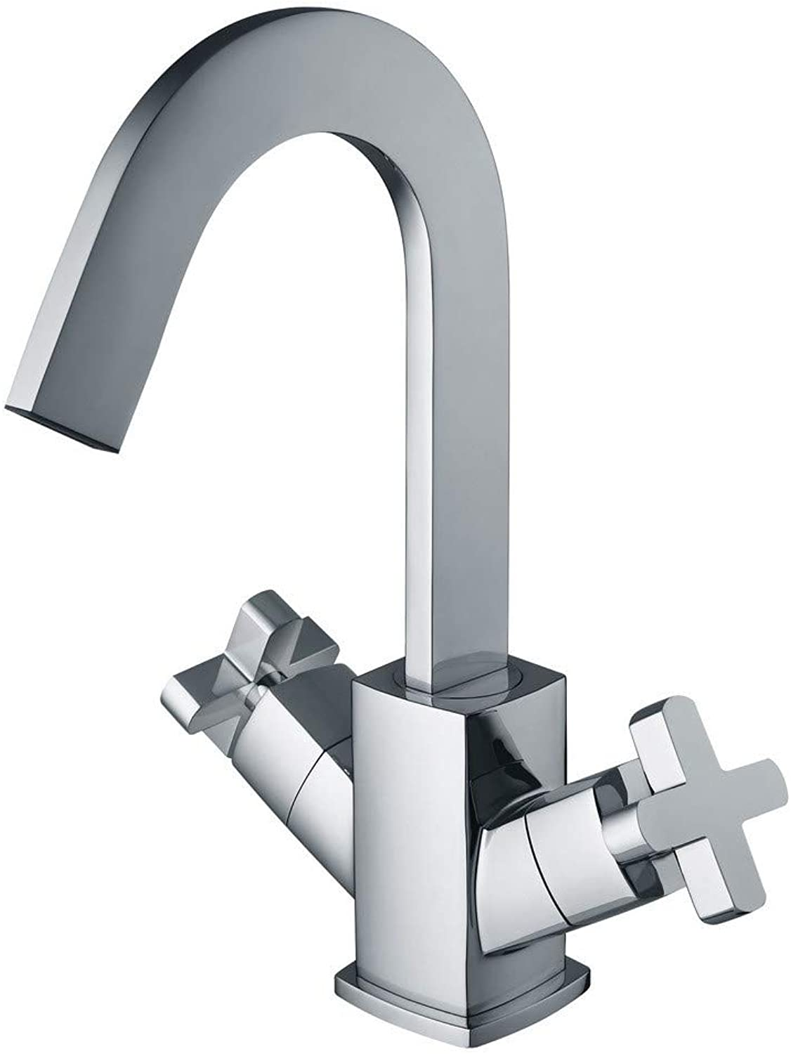 Ddlli Copper Single Hole Waterfall Wash Basin Basin Faucet Cross Double Handle Hot and Cold Water Mixing Multi-Layer Plating Silver