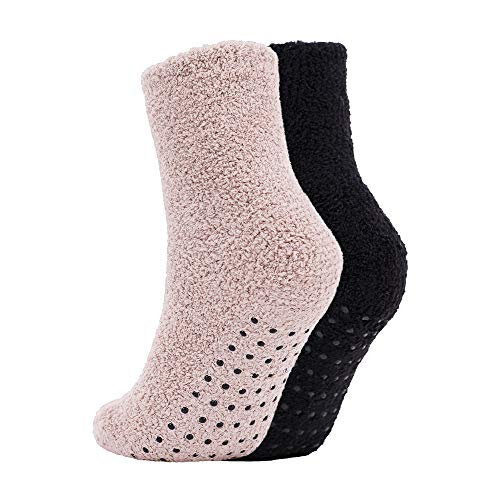 BURKLETT Adult Indoors Anti-Skid Winter Slipper Socks - 2,4,6 Pack