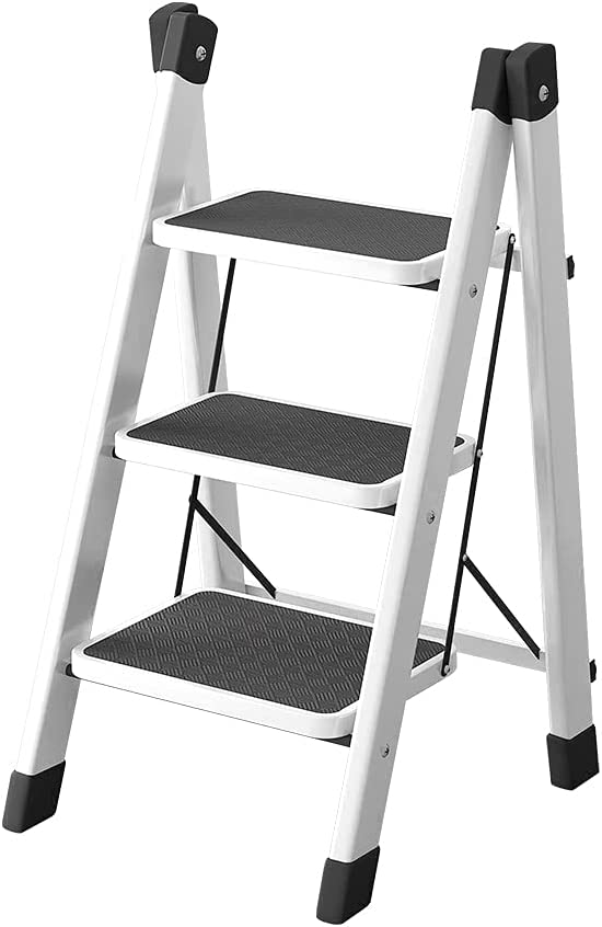 PADEN Step Ladder (White 3 Step Ladder) ladders for Home Collapsible Ladder Step Ladder 3 Step Folding Multi Purpose Step Ladder