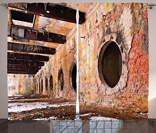 ambesonne Industrie Decor Kollektion, Ruinen einer Old Baustellen 1890's die belastetes Städte in Europa Bild, Wohnzimmer Schlafzimmer Vorhang 2Platten Set, 274,3x 213,4cm, elfenbeinfarben