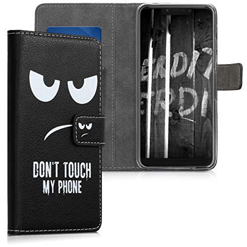 kwmobile Wallet Hülle kompatibel mit Wiko View 2 Plus - Hülle Kunstleder mit Kartenfächern Stand Don't Touch My Phone Weiß Schwarz