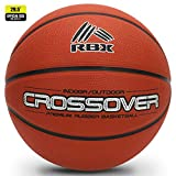 "RBX Crossover Rubber Basketball: 29.5"" Regulation Size Streetball (7), Durable & Game Ready (Ships Inflated), Made for Indoor and Outdoor Basketball Games (Orange)"