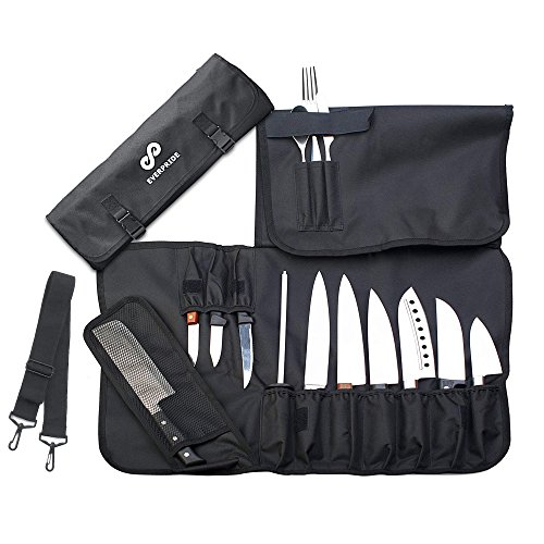 EVERPRIDE Chef Knife Roll (14 Slots) | Knife Carrier Holds 10 Knives, 1 Meat Cleaver And 3 Utensil Pockets. Easily Carried by Shoulder Strap For Professional Sous Chefs, Cooks, Culinary Aficionados