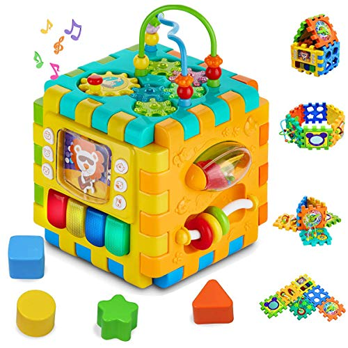 Baby Activity Cube Toddler Toys - 6 in 1 Shape Sorter Toys Baby Activity Play...