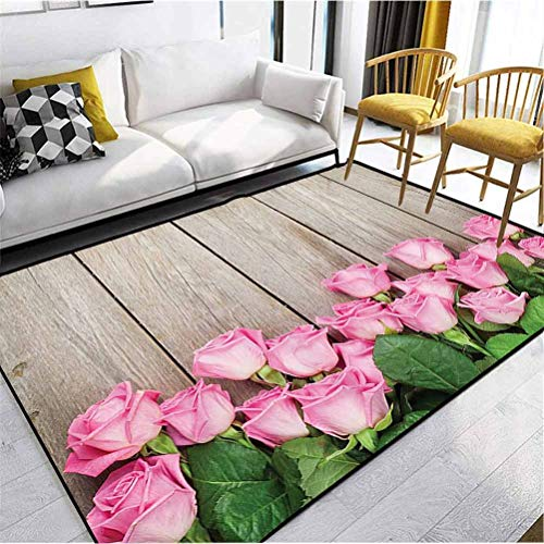 Roses Decorations Collection Polyester Ultra Soft Rug Ultra Soft Modern Area Rugs Pink Roses Over Wooden Timber Table Valentines Day Top View Picture Pink Green Beige 5 x 2.5 ft