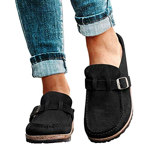 YZCH Women Sandals,Flat Shoes for Women,Women Casual Comfy Clogs Suede Slip On Sandals Summer Home Office Shoes