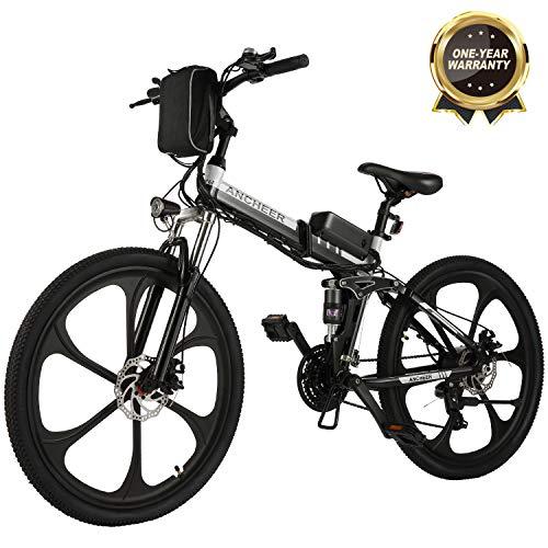 """Bicicletta Elettrica Pieghevole, Bici al Lavoro, E-Bike -Fold 20""""/26"""", Adulto, 250W Batteria 36V 8Ah, Cambio Shimano a 7 velocità (26 Mountain Bike Nero)"""