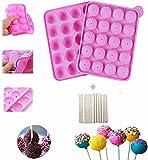 yiqi 20 de Silicona Bandeja Pop Cake Stick Mould - Libre de BPA, de Calidad alimentaria, Pasteles, piruletas, Caramelos, Jelly y Chocolate, no Adhesivas
