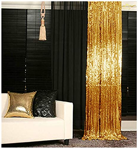 Sequin Curtains 2 Panels 2FTx8FT Gold Glitter Backdrop Gold Sequin Photo Backdrop Backdrop Curtains M1120