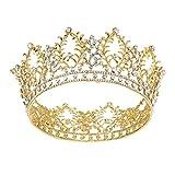 FRCOLOR Corona Princesa,Crystal Rhinestone nupcial reina Tiara para la fiesta de compromiso de la boda (oro)