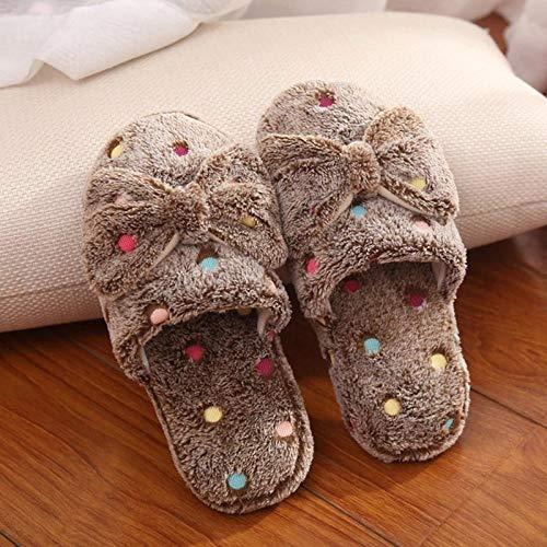 Hausschuhe Slipper Pantoffeln Damen Warme Niedliche Schleife Herbst Winter Frau Hausschuhe Home Wear Sandalen Frau Bequeme Plattform Frau Schuhe-Kaffee_40-41