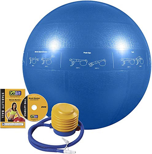 GoFit ProBall Stability Ball – Printed Exercise Ball for Yoga, Workout, Balance - Blue 55 cm
