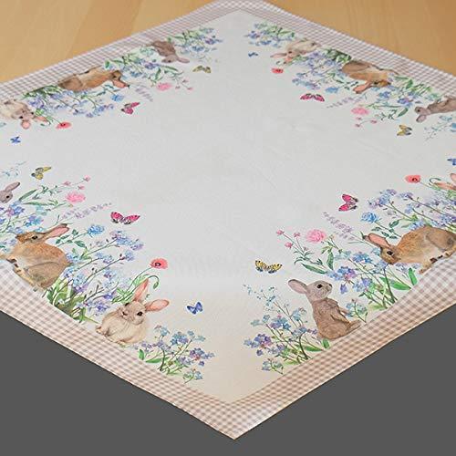 Kamaca Tischdecke Häschen in der Blumenwiese hochwertiges Druck-Motiv mit süssen Hasen Eyecatcher in Frühling Ostern (Mitteldecke 85x85 cm)