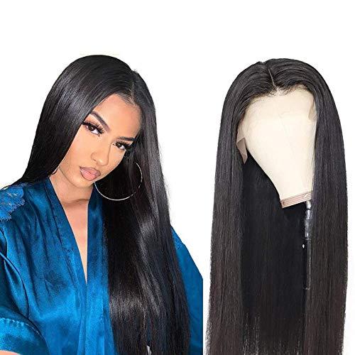 SWDCA 22'Peluca sintética Recta Negra, Peluca Larga de Moda, se Puede Usar como Pelucas de Disfraces para una Fiesta de Vestidos de fantasía