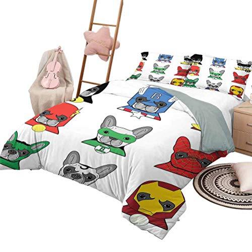 Juego de edredón para niños Patrón de superhéroe Funda de cama Bulldog Superhéroes Divertidos dibujos animados Cachorros disfrazados Disfraz Perros con máscaras Estampado King Size Multicolor