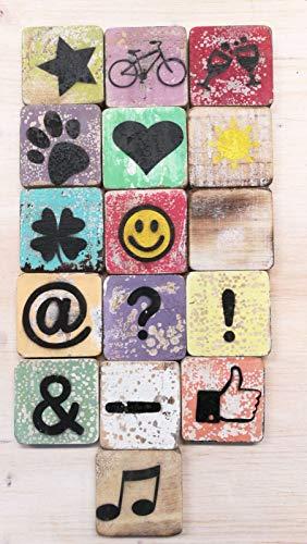 Zeichen Symbole aus Holz, passend zu unseren Scrabble Buchstaben, Verschiedene Symbole, 6 x 6 cm, bunt gemischt (Sektgläser)