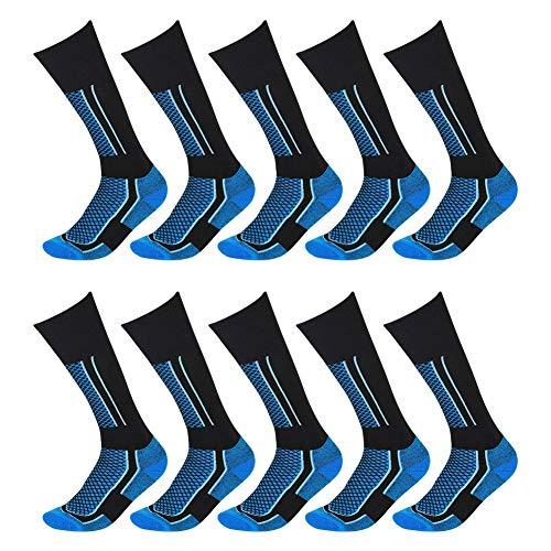 10 Packs Men's Premium Over-the-Calf Socks, Athletic Tactical Trekking Hiking Canterbury Boot Socks Black & Blue One Size