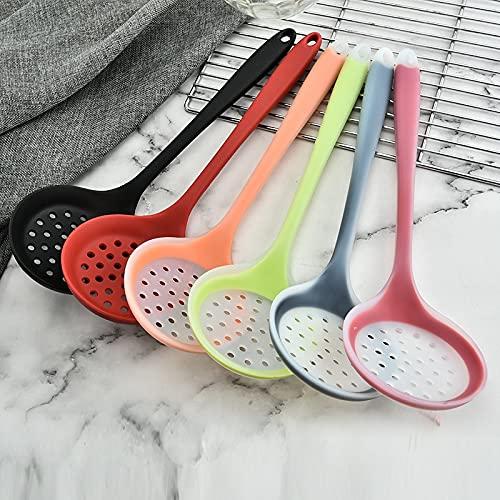 XKMY Tamiz de cocina 1 colador de silicona de grado alimenticio, coladores de cuchara, coladores de cocina coloridos, coladores de drenaje, utensilios de cocina (color negro)