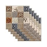 Pelar y pegar Pegatina de azulejos para baño sello Entrepaños de cocina tradicional modelo de mosaico Escaleras etiqueta de la pared Tatuajes de 8x8 pulgadas (24pcs / set),Marrón