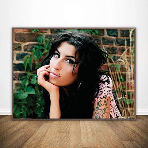 danyangshop Alicia Keys Poster di Stoffa di Seta da Parete in Tessuto di Arte Poster E Stampe Decorazione da Parete per La Casa Bar Cafe Decorazione della Casa W-5094 (40X60Cm) Senza Cornice