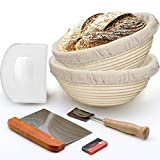 Bread Banneton Proofing Basket, set of 2, 10' Baking Bowl Dough Gifts for Bakers(Round)