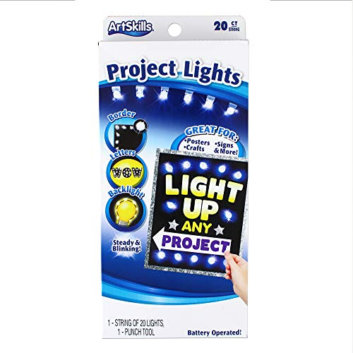 ArtSkills String of 20 Clear Project Poster Lights, Punch Tool and Instructions Lights-20ct