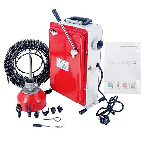 NICCOO Allround Rohrreinigungsmaschine, 400 U/m Rohrreiniger Abflussreiniger mit Spirale, 550W 12mx16mm Federspirale 3mx10mm Spiralkorb, Profi GQ-100 Rohrreinigungsgerät für Rohrleitungen 20-110mm