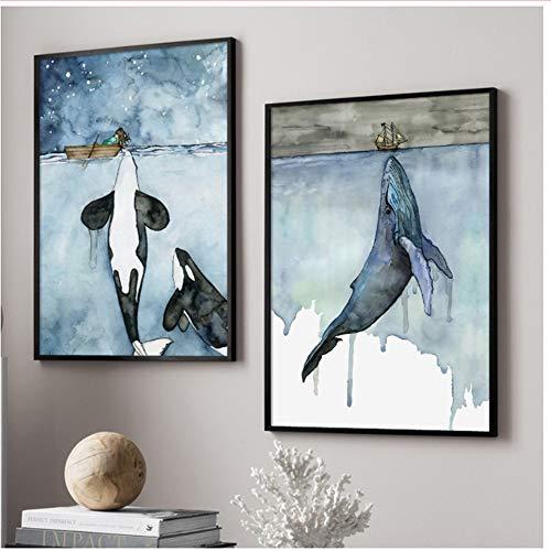 Leinwand Wandkunst Aquarell Wal Malerei Poster Und Drucke Wandbilder Für Wohnzimmer Decor-50x70 cm Kein Rahmen