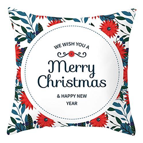 Homxi Funda para Cojin 50 x 50,Fundas de Poliester para Cojines Merry Christmas Happy New Year Flores,Funda para Cojin de Navidad Blanco Rojo