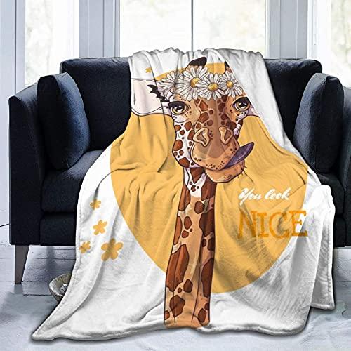 Manta de Felpa Suave Cama Jirafa Divertida con Corona Daisy Manta Gruesa y Esponjosa Microfibra, Suave, Caliente, Transpirable para Hogar Sofá , Oficina, Viaje