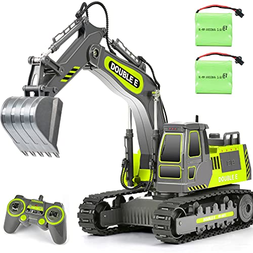 DOUBLE E Remote Control Excavator Toy Sandbox Diggers 2 Batteries Engineering RC Construction Vehicle Tractor Trucks for Boys Girls Kids, E571-003, Grey Green