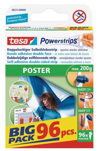 tesa Powerstrips Poster (Doppelseitige Klebestreifen für Poster und Plakate, Selbstklebend und mehrfach verwendbar, bis zu 200 g Halteleistung) 96 Stück