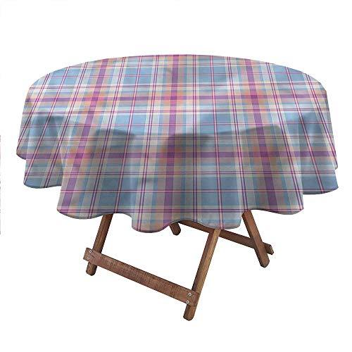 "carmaxsHome Spring Tablecloth Pastel Table Linens Vintage Plaid Pattern 48"" Round"