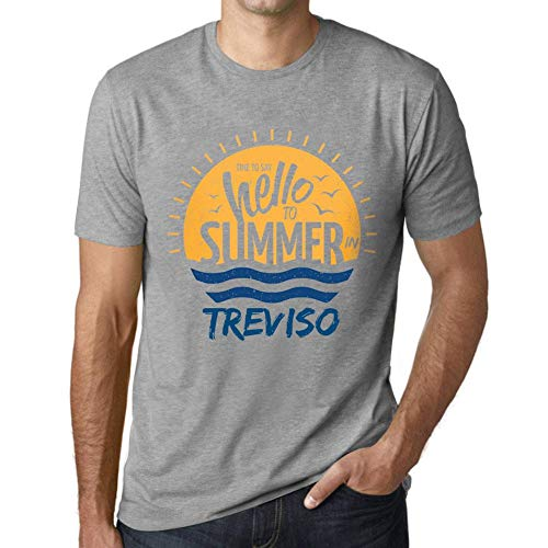Hombre Camiseta Vintage T-Shirt Gráfico Time To Say Hello To Summer In Treviso Gris Moteado