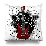 Générique Throw Pillow Cover Floral Acoustic Guitar on Abstract Vintage Rock Blues Color Concert Drawing Design Decor Zippered Cushion Case Square Home Decorative Pillowcase 18x18 inches