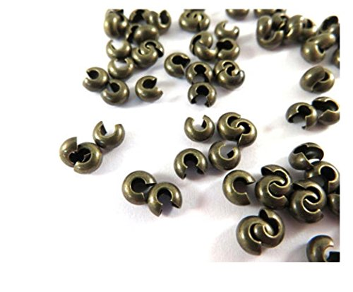 200 Top Quality Crimp beads Knot Cover 4mm Small Crimps Antique Bronze Plated Copper Brass for Jewelry Craft Making CF118-4